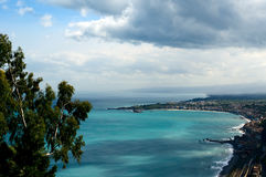 Panoramic landscape of the Mediterranean Sea. Sicily. Italy Royalty Free Stock Photos