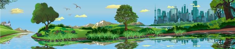 Panoramic landscape - metropolis, lake, river. The town on the island.The island in the lake. The trees and shrubs. Vector illustration Stock Image