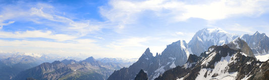 Panoramic landscape of the Mont Blanc Royalty Free Stock Photography