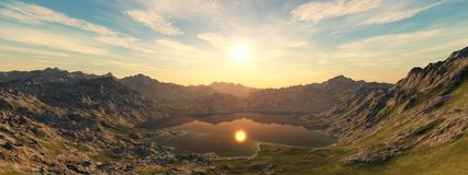 Panoramic landscape of a mountain sunset Stock Photo