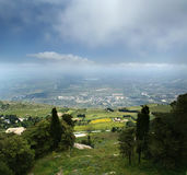 Panoramic landscape of a mountain valley royalty free stock image