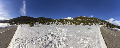 Panoramic landscape mountain view, near town of Canillo. Principality of Andorra Royalty Free Stock Images