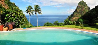 Panoramic of landscape near Piton Stock Images
