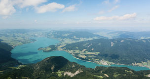 Panoramic Landscape over Lake Mondsee Stock Image