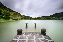 Lagoa das Furnas in Azores. Panoramic landscape overlooking Lagoa das furnas a beautiful lagoon in the island of Sao Miguel. Azores are one of the main holiday Royalty Free Stock Photography