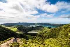 Panoramic landscape overlooking three amazing ponds, Lagoa de Santiago, Rasa and lagoa Azul, Lagoa Seven Cities. The Azores are on