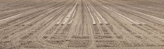Panoramic landscape of plowed empty field Royalty Free Stock Photo
