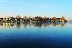 Panoramic landscape with reflections, Holland Royalty Free Stock Images