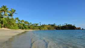 Panoramic landscape of a remote tropical beach in the Yasawa Isl Stock Photography