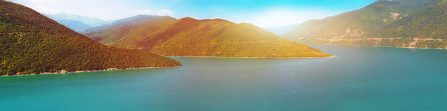 Panoramic landscape of river on sunset. Panoramic landscape of river in Georgia on sunset royalty free stock images