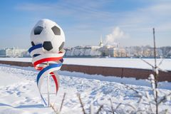 Panoramic landscape of Saint Petersburg with football FIFA World. ST. PETERSBURG. RUSSIA - FEBRUARY 21 2018. Panoramic landscape at winter Neva river with Royalty Free Stock Images