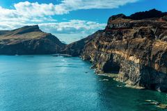 Panoramic landscape of a Scenic the rock canyons. Madeira - Ponta Sao Lourenco stock photos