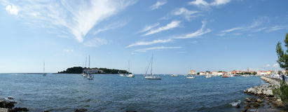 Panoramic landscape of the sea with yachts royalty free stock photos