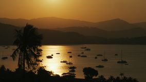 Panoramic landscape sea yachts standing at parking on background evening sunset. Boat parking on background reflection golden sunset in evening sea and stock video footage