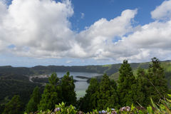 Panoramic landscape of Sete Cidades Lagoon in Azores Royalty Free Stock Photos