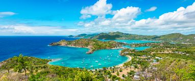 Panoramic landscape of Shirley Heights, Antigua and Barbuda. Beautiful bright and colorful aerial view of English harbor, Shirley Heights in Antigua, Caribbean stock image