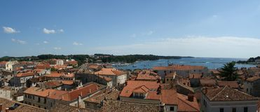 Panoramic landscape with the sky, the sea and roof Stock Photo