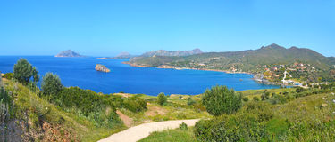 Panoramic landscape of Sounion Greece royalty free stock photo