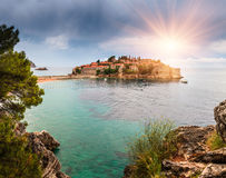 Panoramic landscape of the Sveti Stefan island resort. Montenegro. Stock Image