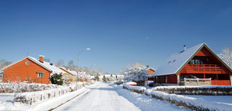 Swedish winter cottage in panoramic landscape Royalty Free Stock Photo
