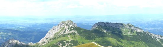 Panoramic landscape in Tatra mountains, Giewont massif royalty free stock image