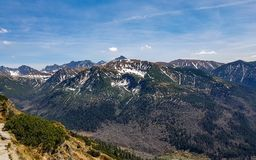 Breathtaking view on Tatra National Park with mountains in sunny spring day with blue sky nearby Zakopane village, Poland royalty free stock photography