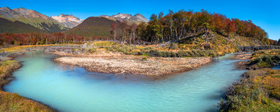 Panoramic landscape of Tierra del Fuego National Park, Patagonia Royalty Free Stock Image