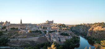 Panoramic landscape of Toledo old town and river Tajo at early morning stock images