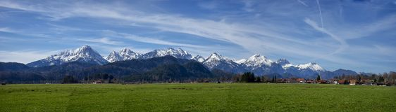 Panoramic landscape of the town of Fussen Schwarzwald germany. And the Alps mountains stock photos