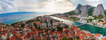 Panoramic landscape of the town Omis Stock Image