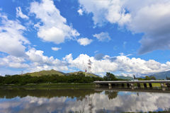 Panoramic Landscape View And Clear Blue Sky Royalty Free Stock Photography
