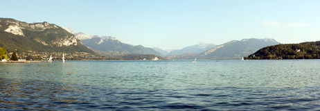 Panoramic landscape view of Annecy Lake in France Royalty Free Stock Photo