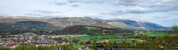 Panoramic landscape view of the city and highlands from Stirling Castle walls Stock Photos