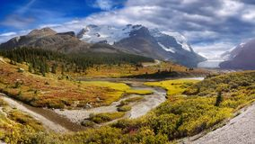 Canadian Rockies, Columbia Icefield Parkway. Panoramic landscape view - Columbia Icefield Parkway in Canadian Rockies. Banff and Jasper National Park. Alberta royalty free stock photo