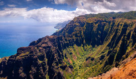 Panoramic landscape view of dramatic Na Pali coastline, Kauai stock photos