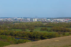 Panoramic landscape. View from  hills to the city outskirts. Stock Photography