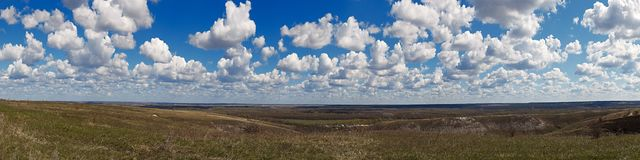 Panoramic landscape. View, from the hills to the countryside in Royalty Free Stock Images