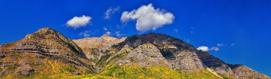 Panoramic Landscape view from Kamas and Samak off Utah Highway 150, view of backside of Mount Timpanogos near Jordanelle Reservoir royalty free stock image