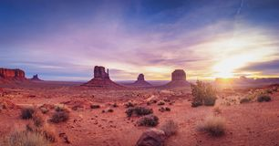 Panoramic landscape view of Monument valley at sunrise, Utah Stock Image