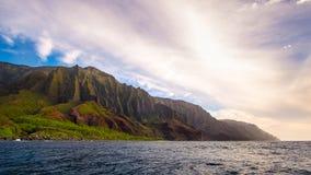 Panoramic Landscape View Of Na Pali Coastline Before Sunset, Kauai Stock Photos