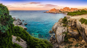 Panoramic landscape view at rocky ocean coastline Royalty Free Stock Photos