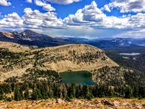 Panoramic Landscape View of Uinta Mountains, clouds, lakes and forest, Utah, USA, America West. Ern Wild, Remote Backpacking Area close to Hayden`s Peak and Royalty Free Stock Photography