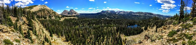 Panoramic Landscape View of Uinta Mountains, clouds, lakes and forest, Utah, USA, America West Stock Photo