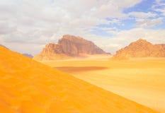 Panoramic landscape view, Wadi Rum desert, Jordan Royalty Free Stock Photo