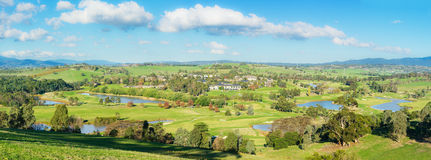 Panoramic landscape view of Yarra Valley in Melbourne. Panorama landscape view of Yarra Glen Valley, a beautiful winery region, Dandenong ranges and the Royalty Free Stock Photography
