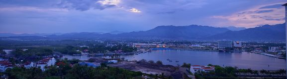 Panoramic landscape views of and around Puerto Vallarta Mexico mountains, city and tropical jungles. Royalty Free Stock Photography