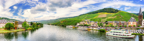 Panoramic landscape with vineyards surrounding the town of Bernk Stock Photos