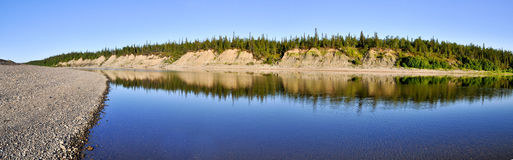 Panoramic landscape of  wild river in the Urals. Royalty Free Stock Images