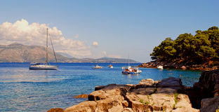 Panoramic landscape with yacht (Croatia) Royalty Free Stock Images