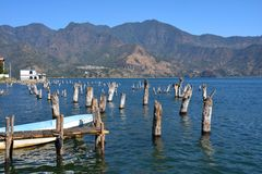 Panoramic Landscapes Atitlan Lake Guatemala royalty free stock photography